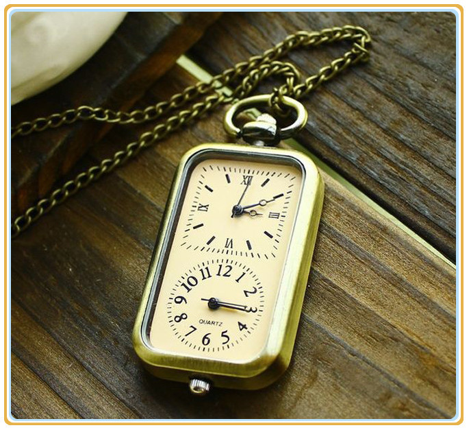 Hot Sale Bronze Quartz Pocket Watch Dual Double Time Zone Movement Necklace Pendant Chain Free Shipping(China (Mainland))