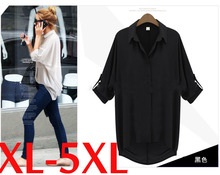 XL-4XL Loose Long Chiffon Black White Roll Up Sleeves Summer Shirt Girl Clothes Ladies Fashion Top Fashion Shirt Woman Big Size