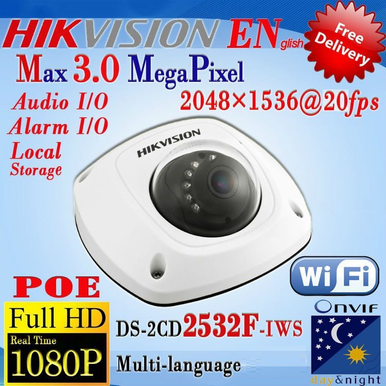 Hikvision DS-2CD2532F-IWS 3MP Network IP Camera Wifi Alarm Input/Output Built-in Microphone/Built-in SD/SDHC/SDXC card slot/POE(China (Mainland))