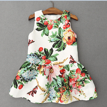 2016 Top Fashion Girl Summer Dress Thin Kids Children Dress Princess Flower Clothes For Baby Gilr  European Princess Style 3-12Y