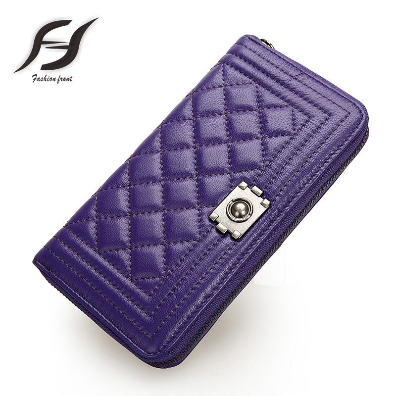 Genuine Leather women Wallets Vintage national style purple for woman Famous Brand mini clutch bag new designer plaid purse