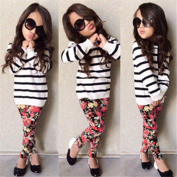 2016 Baby Kids Clothes(Striped T Shirt + Flower Legging Pants) Children 2pc Sets Fashion Girls Clothes Full Sleeve Coat