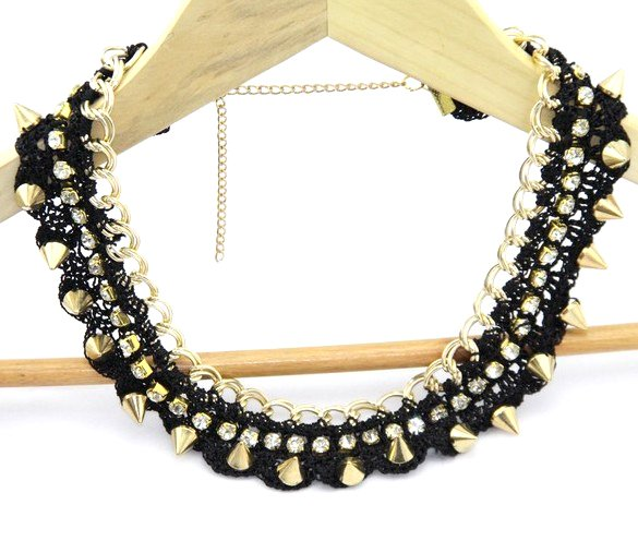 Top Fashion !! Punk Black Spike  Crystal Rhinestone Gold collar  necklace Jewelry wholesale !Free shipping !!