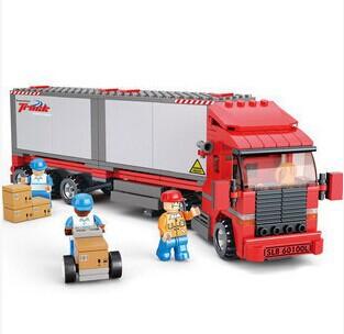 Sluban Trasportation Double Cabinet Freight Car 345 Pcs ABS Plastic Building Blocks Learning&Education Toy Christmas Gift(China (Mainland))