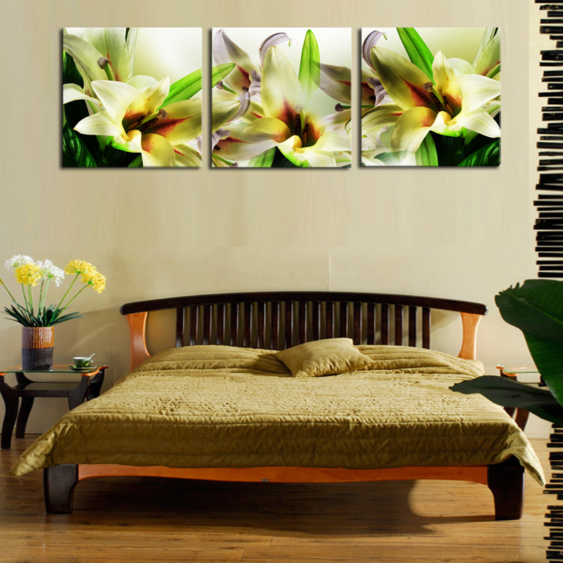 Unframed 3 Panels Canvas Oil Wall Art Flowers Painting Home Decorative Cheap Art Picture Paint