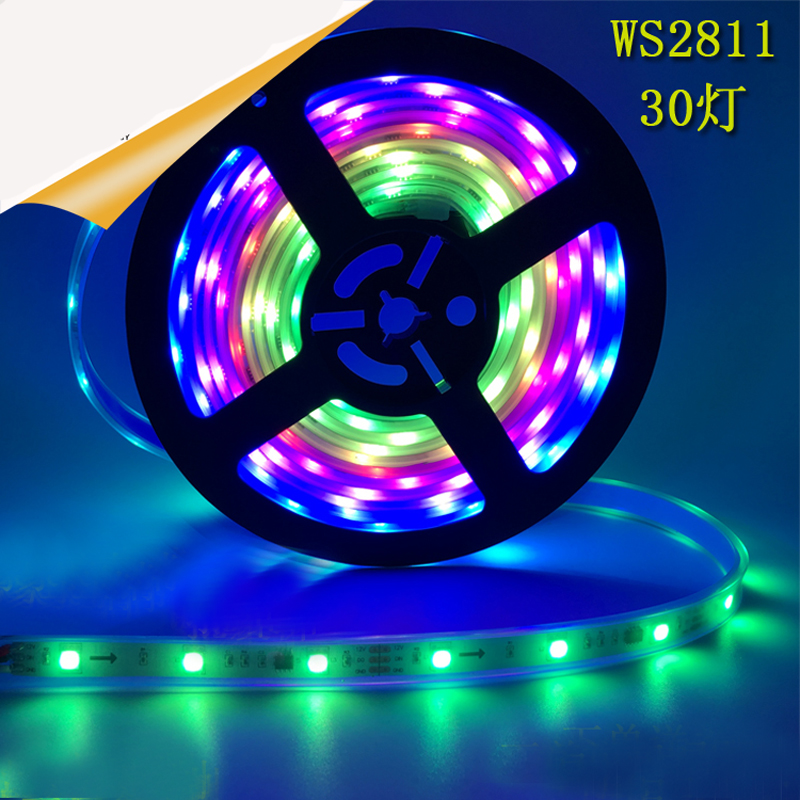 50m/lot free shipping 5M/roll DC12V WS2811 IC SMD5050 RGB Beads 30led/m Led Programmable Running Strip Light Waterproof(China (Mainland))