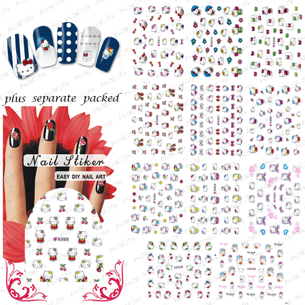 NEW ARRIVAL 20PCS/LOT 3D ketty cat NAIL sticker design,Nail Art Patch Cartoon Series For Fingernail Desgin individually package<br><br>Aliexpress