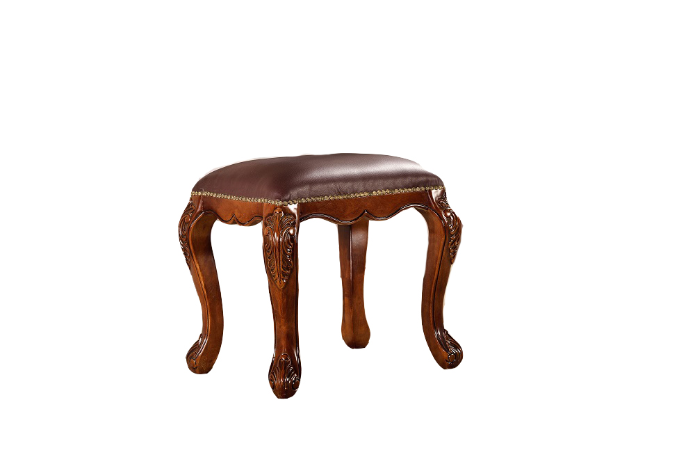 Leather Dresser Stool Wood Carved Stool Antique Mirrored Furniture Bedroom Luxury Vanity Table mirrored chest moderne style(China (Mainland))