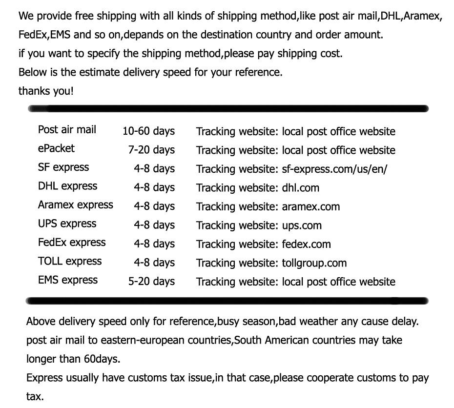 neirong shipping tax