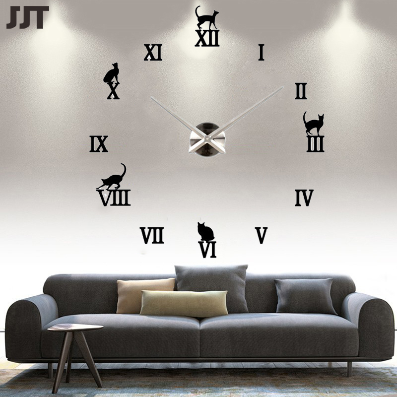 2016 3D Large Wall Clock Mechanism Unique Acrylic Rome Digital Horloge Murale Hot Sale Free Shipping JT7009(China (Mainland))