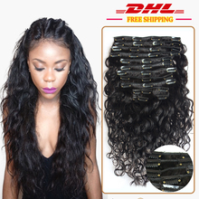 DHL Free Ship Water Wave Human Hair 120g Clip In Human Hair Extensions Wave Brazilian Virgin Clip In Hair Extensions Human Hair(China (Mainland))
