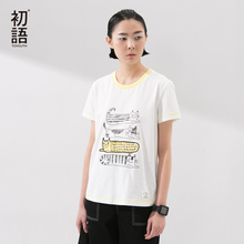 Toyouth New Arrival Women Cotton T-Shirts Cartoon Print Summer Casual Sport O-Neck Loose Tops Tees(China (Mainland))