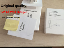 100pcs/lot Original quality Genuine 5V 1A wall charger with logo US  plug home adapter with retail box for iphone 7 SE 6 5(China (Mainland))