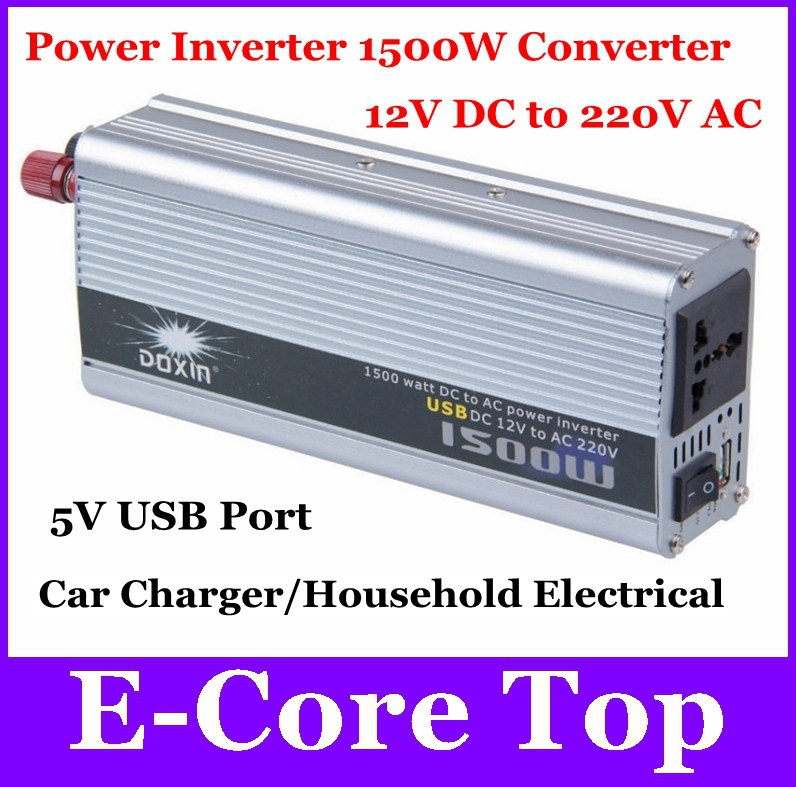 Universal Power Inverter Car Charger 1500W 12V DC to 220V AC Portable Voltage Converter Transformer Household Power Supply+USB(China (Mainland))