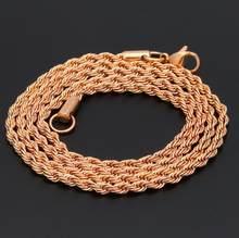 Uwin ze stali nierdzewnej 3mm liny naszyjnik łańcuch 18 cal 22 cal złoty srebrny kolor wysokiej jakości hip hop moda biżuteria dla mężczyzn/kobiet(China)