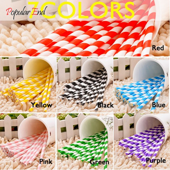Paper Drinking Straws 25Pcs Colorful Vintage biodegradable Striped Birthday Wedding Party Straws 29(China (Mainland))