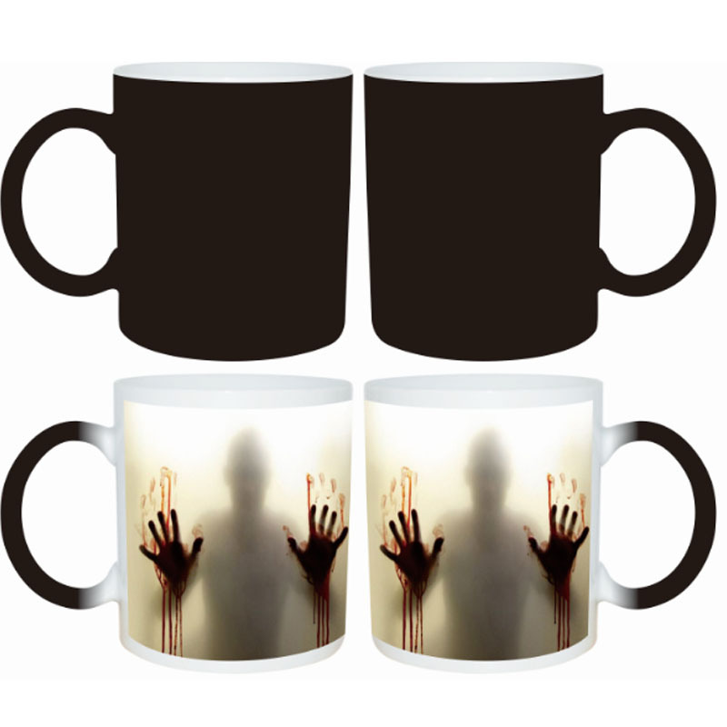 Halloween Magic Mugs Temperature Sensitive Ceramic Mugs Zombies Heat Reveal Color Change Ceramic Coffee Cup(China (Mainland))