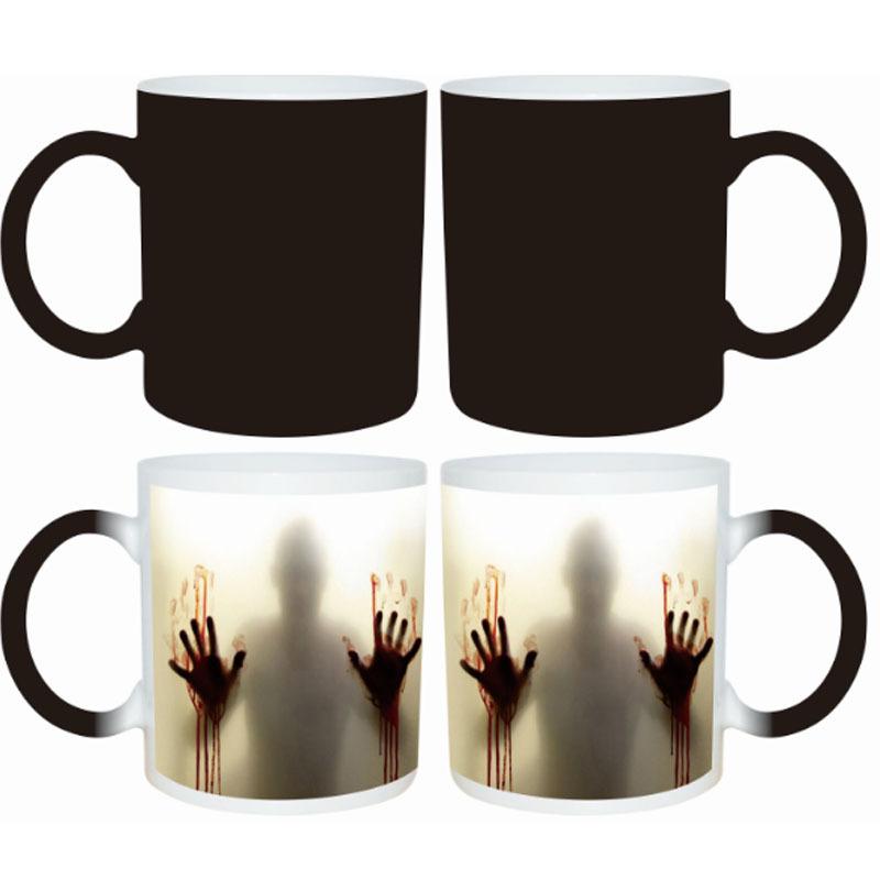 Halloween Magic Mugs Temperature Sensitive Ceramic Mugs Zombies Heat Reveal Color Change Ceramic Coffee Cup(China (Mainland))