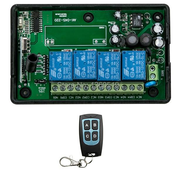 New AC85v~250V 110V 220V 230V 4CH RF Wireless Remote Control Relay Switch Security System Garage Doors, Electric Doors(China (Mainland))