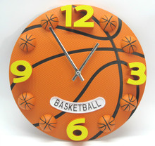 12 Inch Creative Football And Basketball Wall Clock Boys Bedroom Wall Watch Plastic Modern Mute Sports Clock Wall(China (Mainland))