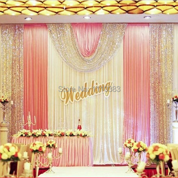Diy Drapes For Wedding: 3m High X6m Long White And Pink Sequin Diy Wedding Stage