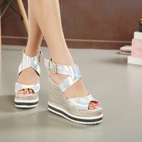 Laser 2015 new summer wedges Korean espadrille super fluorescent color for female high-heeled sandals
