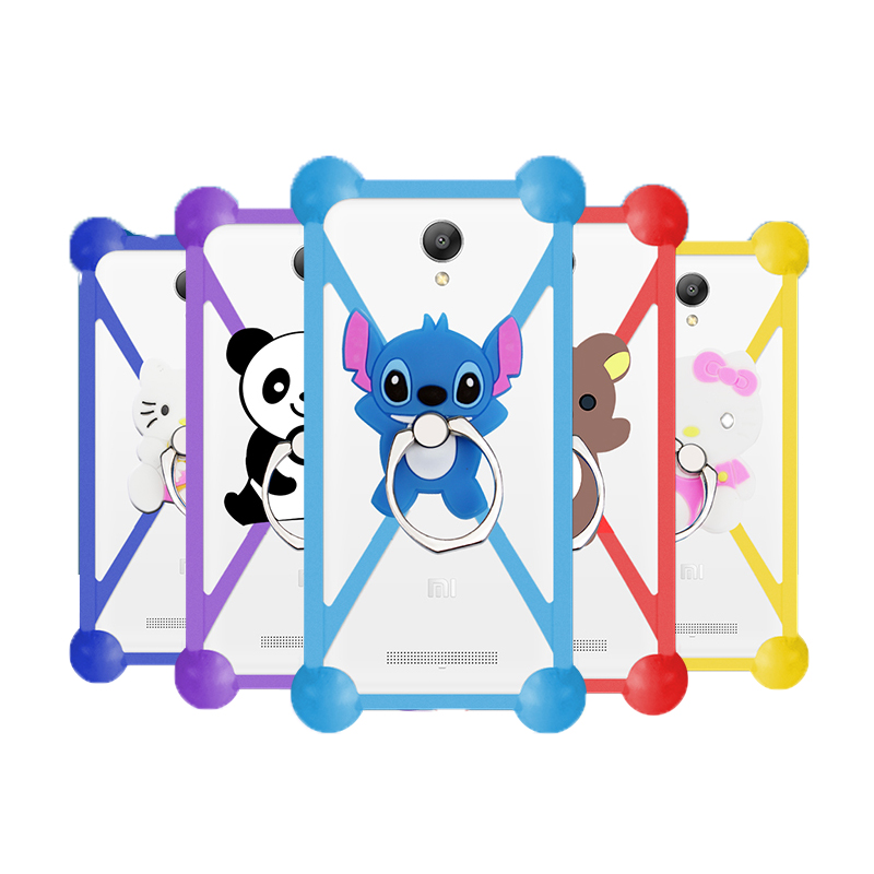 Hot Cartoon Ring Stand Holder Soft Silicone Case For Fly FS505 Cell Phone Universal 3.5 - 5.5 Inch Bumper Frame Cover(China (Mainland))
