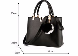 Fur Ball Ornamet Women Occident Style Simple Handbag Designer Stlish Shoulder Bag Ladies Casual PU Leather Crossbody Bag