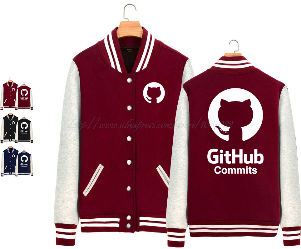 cartoon Github commits Linux Merb Ruby geek mascot Octocat Octopus Cat couple clothes woman fleece sports Baseball Jackets(China (Mainland))