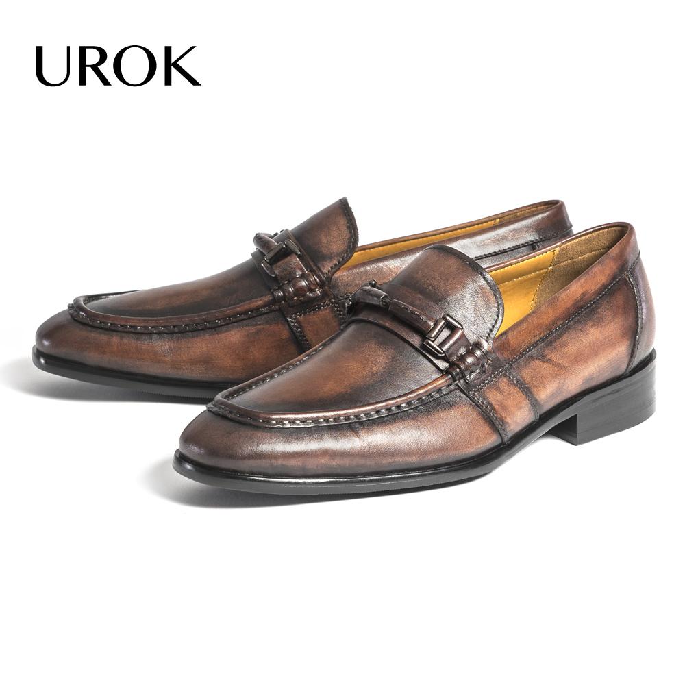 Men Handmade Custom Made Goodyear Full Grain Leather Loafers Nubuck Pointed Toe Plain Flat Slip-on Penny Stacked Heel Shoes(China (Mainland))