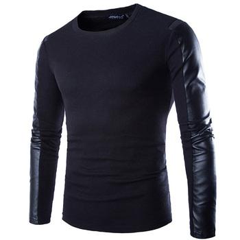 2015 мода марка фитнес мужчины с длинным рукавом футболки тренажерный зал бейсбол спорт свободного покроя хлопок PU графический тис мужские футболки майку T03