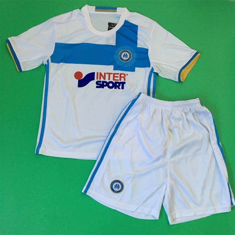NEW Olympique de Marseille 2016 2017 KIDS White Blue home away soccer jerseys survetement football maillot de foot Thai quality(China (Mainland))