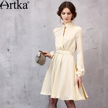 Buy Artka Women's 2017 Spring New 2 Colors A-Line Dress Vintage Stand Collar Lantern Sleeve Knee-Length Dress Sashes LA11051Q for $49.13 in AliExpress store