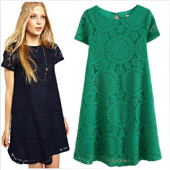 Newest Fashion Women Clothes Ladies Dress Short Sleeve Female Summer dress O-Neck Casual Sexy Lace Dress vestidos LBR816LQC(China (Mainland))