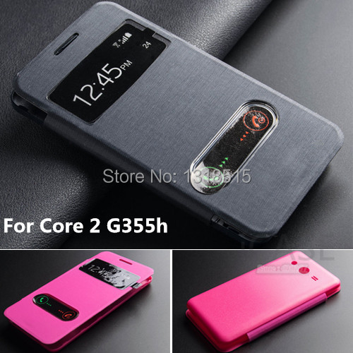 Top quality Open Window Flip Leather Case For Samsung Galaxy Core 2 Core2 G355h Back Case Cover slide to answer call function(China (Mainland))