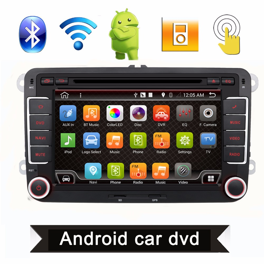 2 Din 7 Inch Quad Core Android 4.4 Car DVD Player GPS Navi PC For VW GOLF 5 6 POLO PASSAT CC JETTA TIGUAN Skoda/Seat 3G USB BT(China (Mainland))
