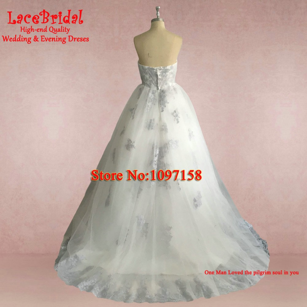 Real Romantic Ball Gown Ivory and Grey Applique Lace Wedding Dresses 2017 vestidos de noiva Puffy Bridal Gowns Custom Made BLW71 12