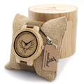 BOBO BIRD Round Vintage Deer Head Bamboo Wood Quartz Analog Wrist Watch For Top Luxury Men