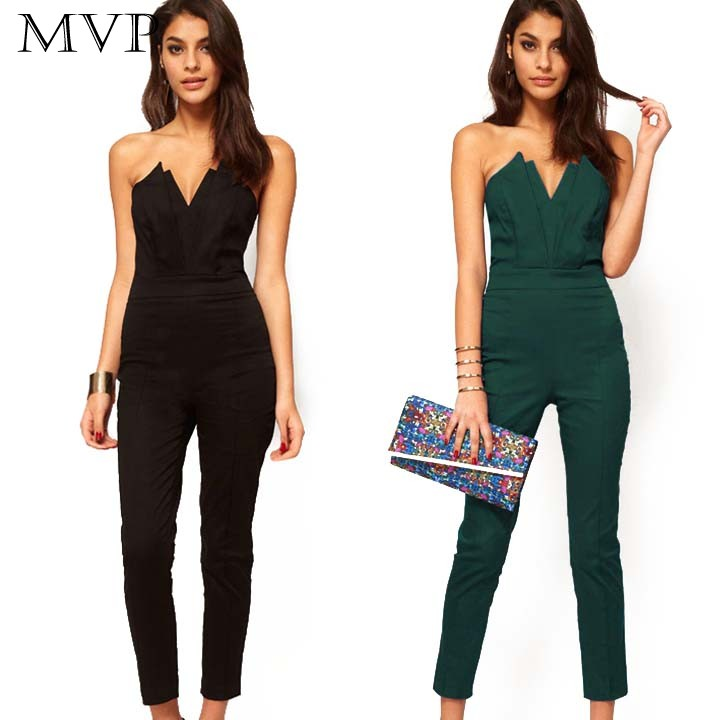 New Fashion Rompers Women Sexy Jumpsuit Black Green Slim Pants Bodysuit Sleeveless Strapless Jumpsuits Macacao Feminino 41(China (Mainland))