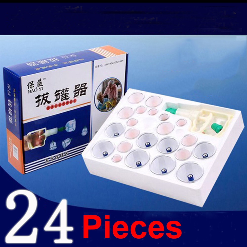 Big Brand 24Pcs cup tanks Chinese medical vacuum cupping sets magnetic hijama therapy body relax massager for health care(China (Mainland))