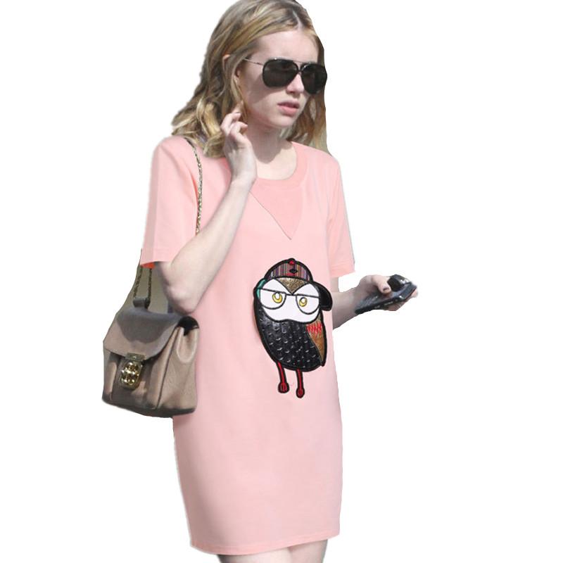 2016 Summer Large Size 3XL 4XL 5XL Women Casual Cotton Pink T shirt Dress O neck Short Sleeve Owl Print Loose Dresses Vestidos(China (Mainland))