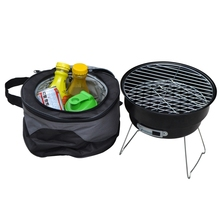 Stainless steel outdoor household couple barbecue brazier charcoal portable mini bbq grill with shoulder cooler bags(China (Mainland))