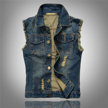 Fashion Mens Motorcycle Jean Vest Dark Blue Ripped Destroyed Washed Slim Fit Sleeveless Denim Jacket For Men Plus Size 6XL AY660(China (Mainland))