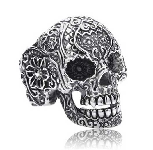 skull punk ring REAL 925 sterling silver jewelry vintage gothic men rings bf gifts D0761 - Liang Hui's shop(Min mix order $15 store)