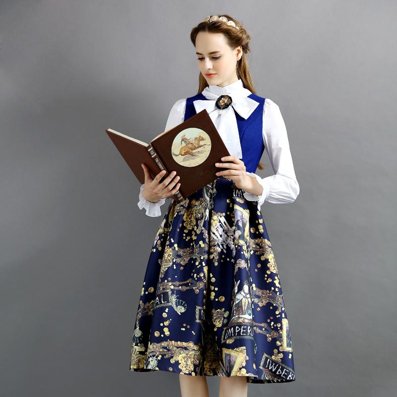BOHOCHIC Women's Artistical Original Design European Vintage England Splice Baroque Pattern Sleeveless Dress AY0030D Boho Chic