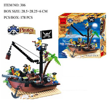 Enlighten Pirate Series Pirate Ship Scrap Dock Model Building Blocks Sets Minifigures Compatible With Legoed Lbk_qm_024
