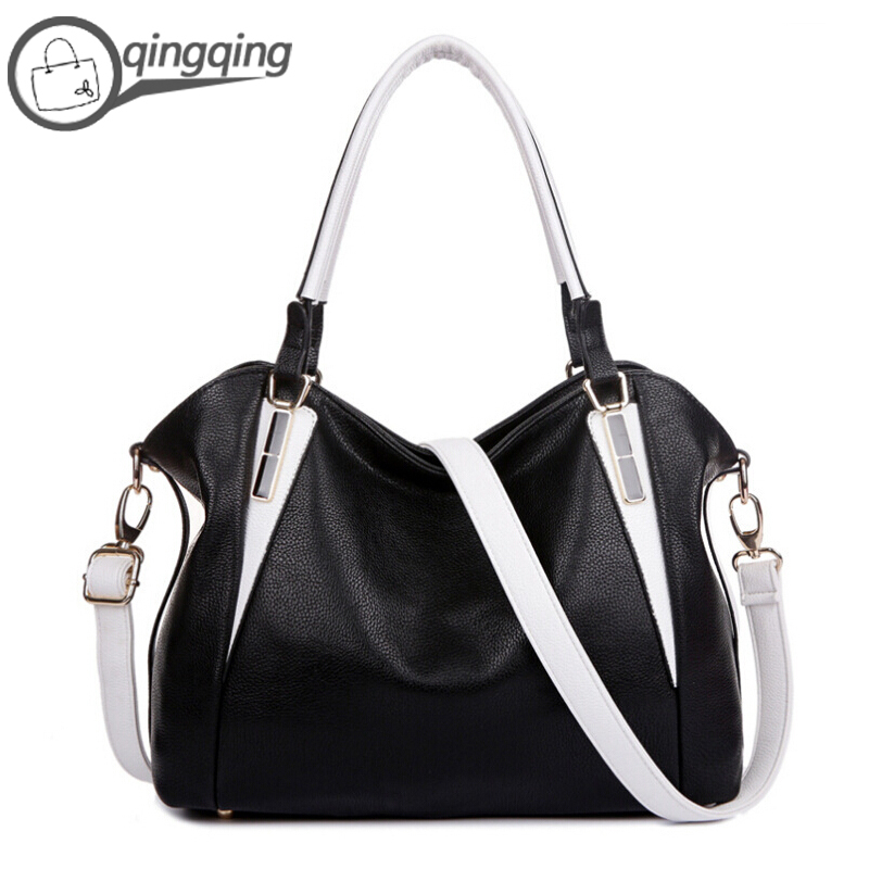 Womens Handbags Bag Black Leather Women Purses and Handbags Shoulder Bag Casual Tote Famous Brands(China (Mainland))