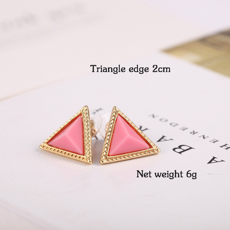 Retro Colorful geometric triangle Stud Earrings Candy colors E102 7g