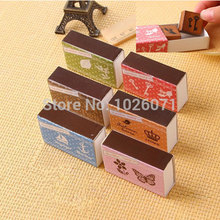 Clearance Sale 1Set Creative matchbox Wooden Rubber Stamp Signet Scrapbook DIY Funny Gift(China (Mainland))