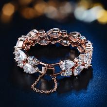 2015 New Brand High Quality Luxury Bracelets For Women Mona Lisa Platinum/Rose Gold Pleated Clear Cubic Zircon Bracelets Bangles(China (Mainland))